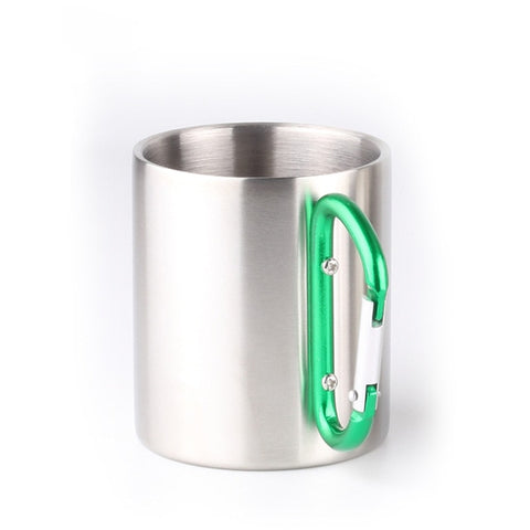 Stainless Steel Double Walled Mugs, Hiking, Travel Cups, Metal Mugs with Carabiner Handle