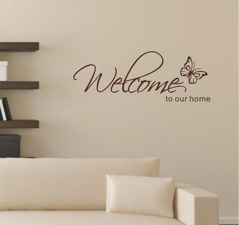 Image of Stickers Muraux Home Decor 'Welcome To Our Home' Text Patterns Wall Stickers Home Decor Living Room Decorative Stickers