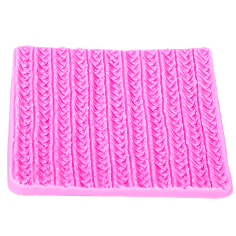 Image of Sweater Fabric Knitting Texture  Biscuits Embossed Pad Decorating Lace Mat Tool Silicone Molds Fondant Cake Decorating FT-1117