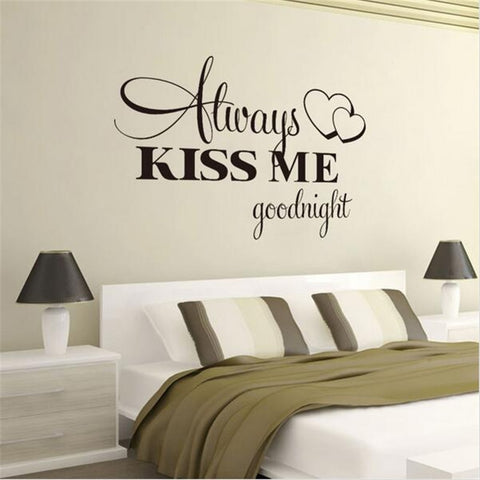 Image of Romantic Mural Love Vinyl Wall Stickers Bedroom Quotes decals Always Kiss Me Goodnight Home Decoration Wall Art Decor
