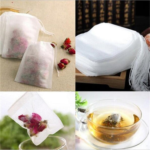 Image of Tea Bags 100Pcs/Lot Empty Scented Drawstring Pouch Bag 5.5 x 7CM Seal Filter for Medcine Cook Herb Spice Loose Tea Bag