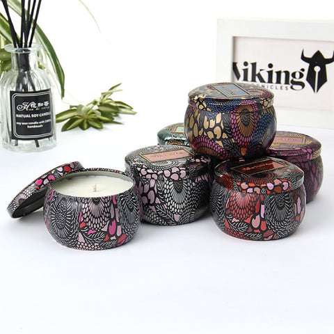 Tin Can Smokeless Fragrance Handmade Scented Candle Natural Soy Wax Wedding Birthday Beautiful Candlestick Home Decoration