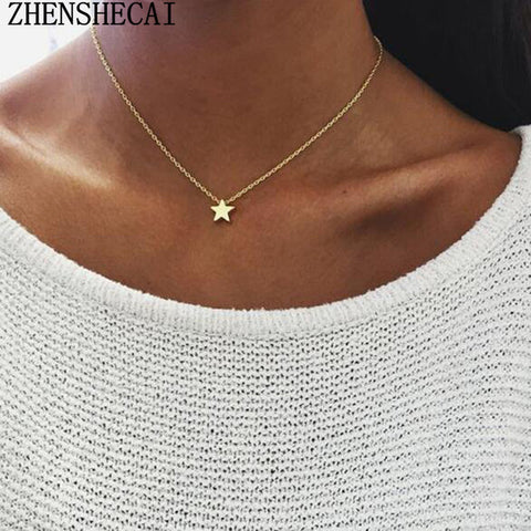 Tiny Heart Necklace for Women SHORT Chain Heart star Pendant Necklace Gift Ethnic Bohemian Choker Necklace