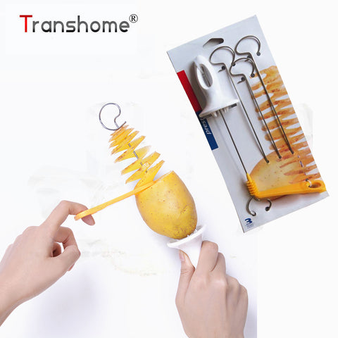 Image of Transhome Potato Spiral Cutter Slicer Spiral Potato Chips PRESTO 4spits Potato Tower Making Twist Shredder Cooking Tools