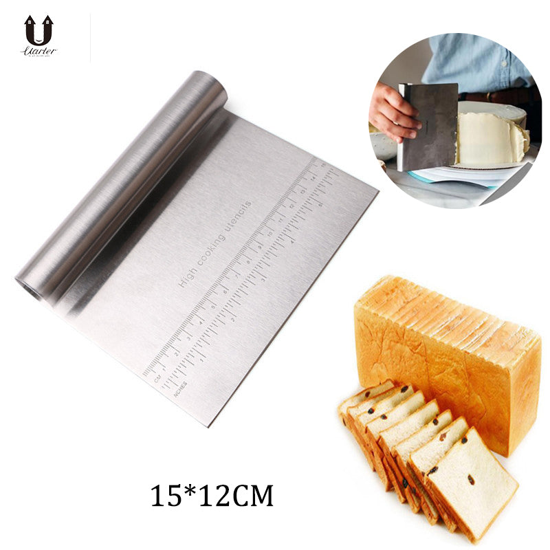 UARTER 1PCS Pizza Dough Scraper Cutter Baking Pastry Spatulas Stainless Steel Cake Decoration Tools Kitchen Accessories