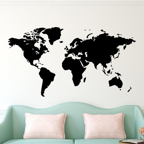 Image of Vintage Art Wall Sticker World Map for Living Room Decoration Decal Stickers Bedroom decor Wallstickers Decor Accessories Mural