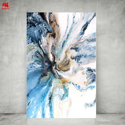 Image of WANGART Colorful Ocean Large Abstract Poster Canvas Art Landscape Oil Painting Wall Pictures For Living Room  Modern no frame