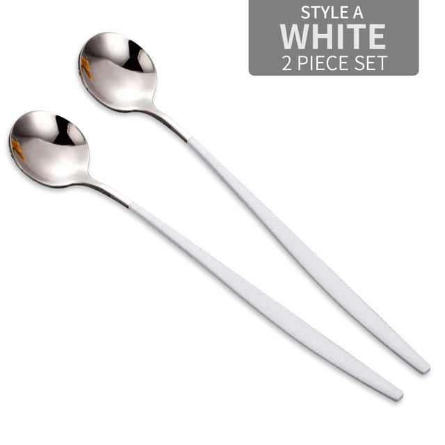 WORTHBUY 2 Pcs/Set Colorful Stainless Steel Coffee Scoop Kitchen Coffee Spoon With Long Handle Ice Cream Dessert Tea Spoon Set