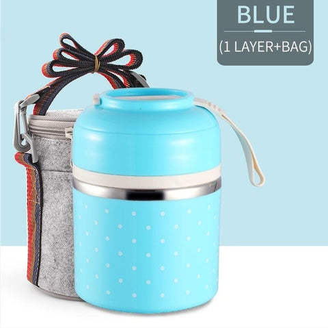 Image of Japanese Thermal Lunch Box For Kids Portable Food Container Kitchen Leakproof Stainless Steel Bento Box