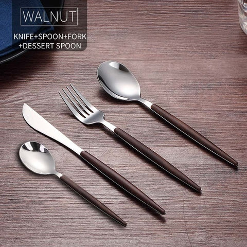 WORTHBUY Portable Gold Cutlery Set 304 Stainless Steel Dinnerware With Plastic Handle For Kids Dinner Travel Tableware Set