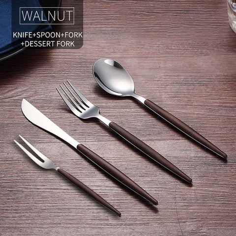 Image of WORTHBUY Portable Gold Cutlery Set 304 Stainless Steel Dinnerware With Plastic Handle For Kids Dinner Travel Tableware Set