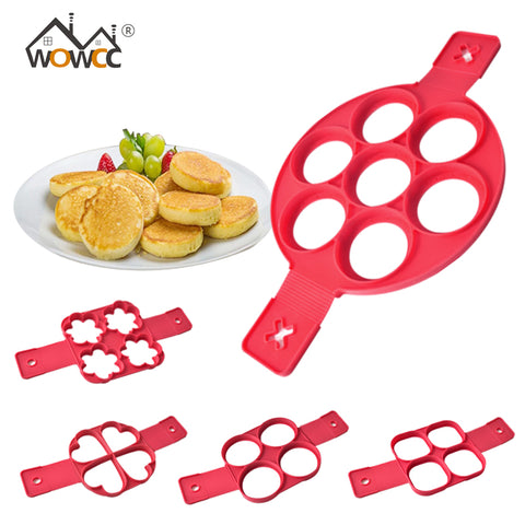 Image of WOWCC Fried Egg Pancake Maker Mold Silicone Forms Non-stick Simple Operation Pancake Omelette Round Mold Kitchen Accessories