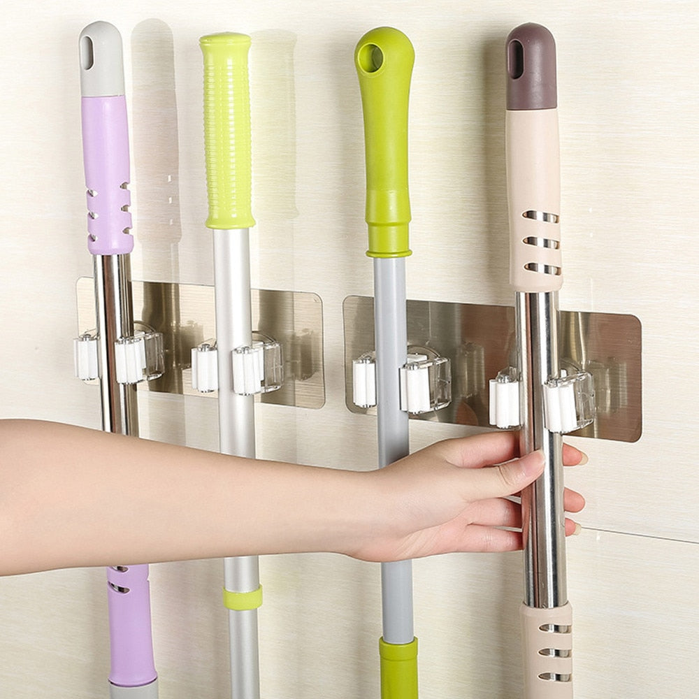 Wall Mounted Mop Holder Brush Broom Hanger Storage Rack Kitchen Organizer Mounted Accessory Hanging Cleaning Tools