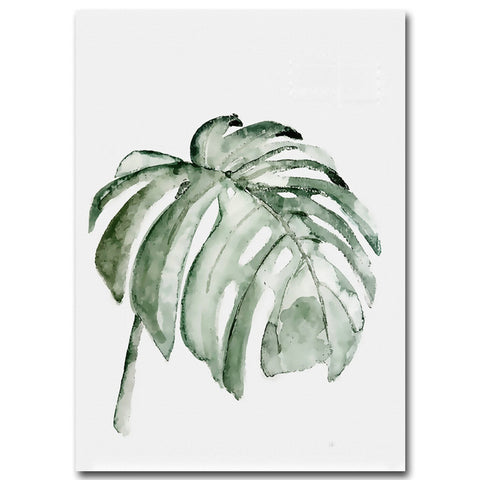 Image of Watercolor Plant Leaves Poster Print Landscape Wall Art Canvas Painting Picture for Living Room Home Decor Cactus Decoration