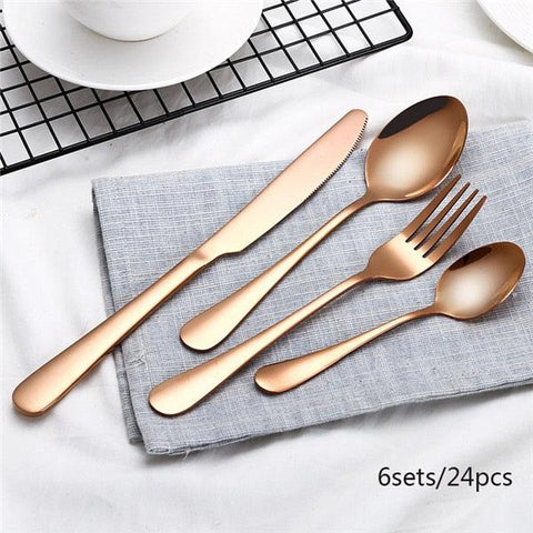 Black Cutlery Set Stainless Steel Dinnerware Tableware Silverware Sets Dinner Knife and Fork