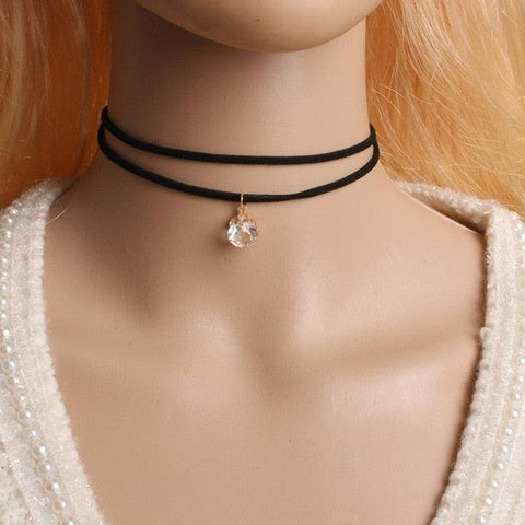 Image of Bijoux Love Vintage Triangle Geometry Tattoo Waterdrop Clavicle Choker Necklace For Women Chain Jewelry