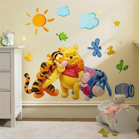 Image of Winnie the Pooh friends wall stickers for kids rooms decorative sticker removable pvc wall decal