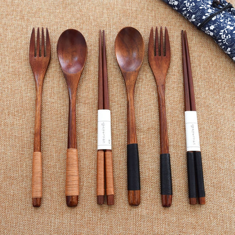 Image of Wood Portable Tableware Wooden Cutlery Sets Travel Dinnerware Suit Environmental with Cloth Pack Gift
