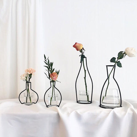 Image of Wrought Iron Transparent Vase Abstract Black Lines Minimalist Abstract Iron Vase Dried Flower Vase Racks Creative Home  Decor