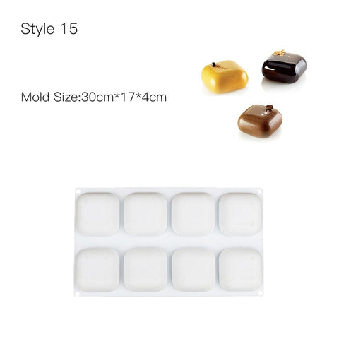 Wulekue Cake Decorating Mold 3D Silicone Molds Baking Tools For Heart Round Cakes Chocolate Brownie Mousse Make Dessert Pan