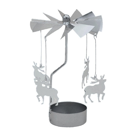 Deer Rotating Spinning Carrousel Tea Light Candle Holder Center Candlestick Party Decor