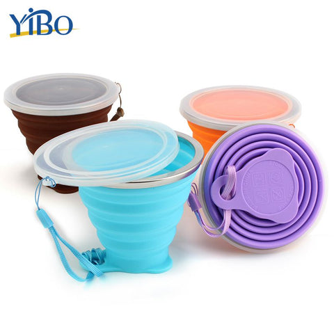 Image of YIBO Food Grade Silicone Folding Cup with Dust-Proof Cover Lid 270ml Poratbale Cammping Travel Outdoor Water Drinking Cup
