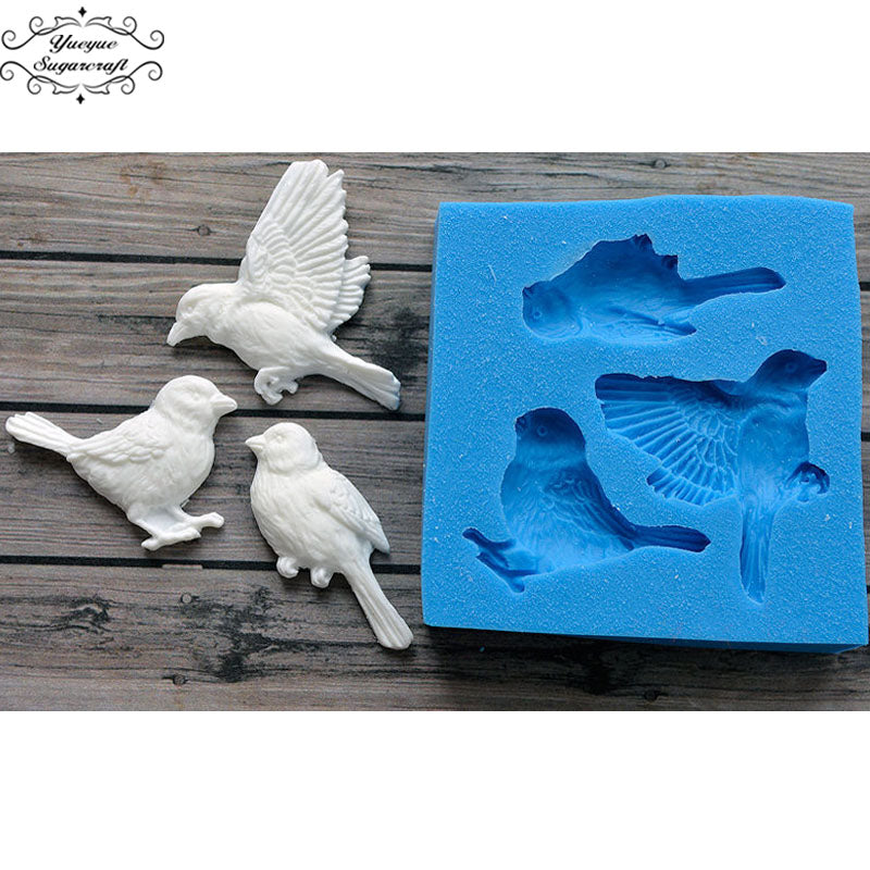 Yueyue Sugarcraft Birds Silicone mold fondant mold cake decorating tools chocolate gumpaste mold