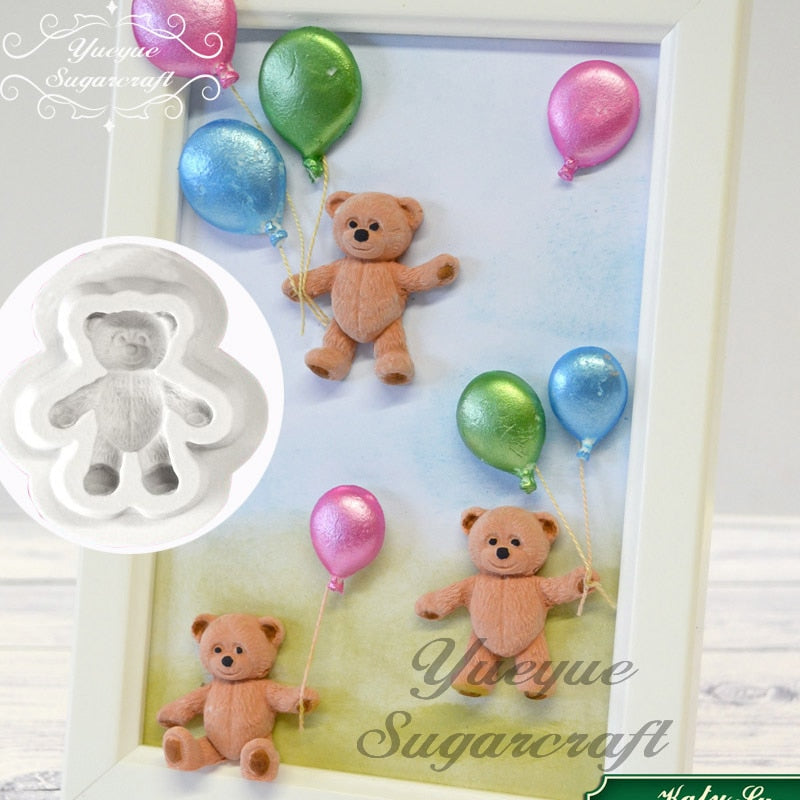 Yueyue Sugarcraft Mini Bear silicone  mold fondant mold cake decorating tools chocolate gumpaste mold