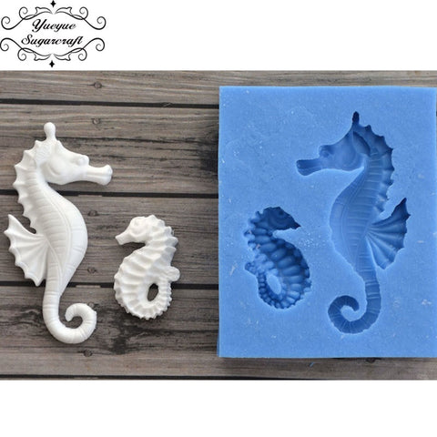 Image of Yueyue Sugarcraft Sea Horse silicone  mold fondant mold cake decorating tools chocolate gumpaste mold