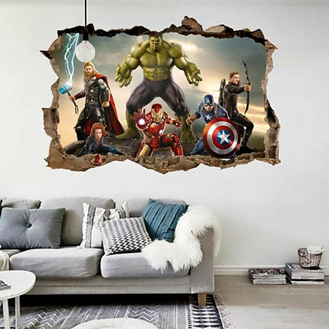 Image of Cartoon movie Avengers wall stickers for kids rooms home decor 3D effect decorative wall decals diy mural art pvc posters art