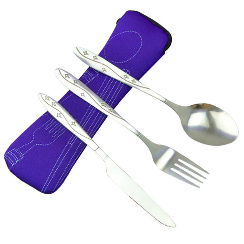 Image of iTECHOR Stainless Steel Tableware set Lightweight Dinnerware Outdoor Hiking Portable Tableware Set with Cloth Bag Picnic Tools