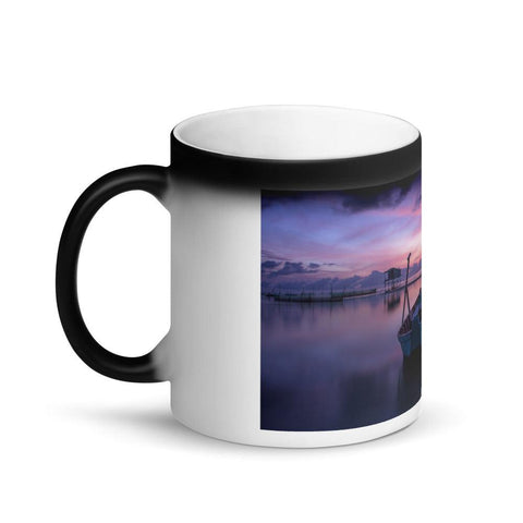 Image of Boat on Calm Water Sunrise Matte Black Magic Mug