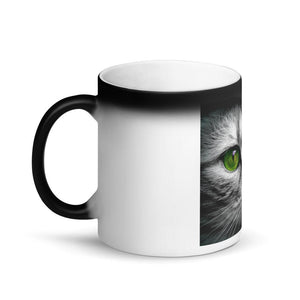Appearing Cat Face Green Eyes Matte Black Magic Mug