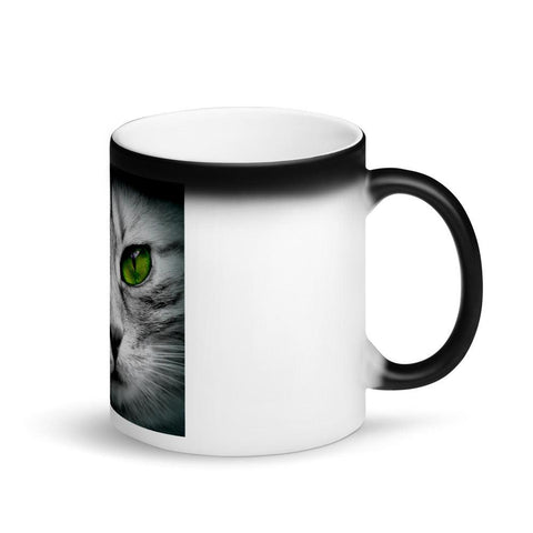 Image of Appearing Cat Face Green Eyes Matte Black Magic Mug