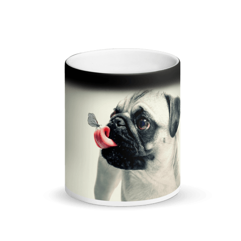 Appearing Pug with Tongue Out Matte Black Magic Mug