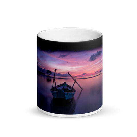 Boat on Calm Water Sunrise Matte Black Magic Mug
