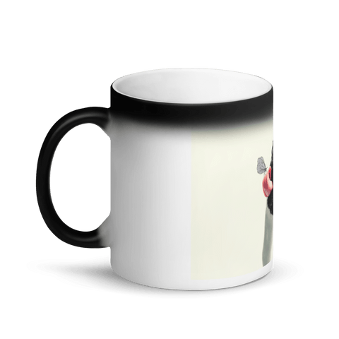 Image of Appearing Pug with Tongue Out Matte Black Magic Mug