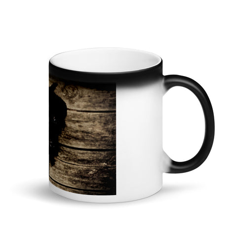 Image of Cute Black Puppy Appearing Matte Black Magic Mug