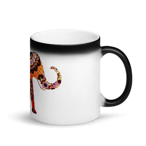 Appearing Colorful Elephant Matte Black Magic Mug