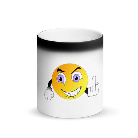 Image of Emoji Middle Finger Funny Matte Black Magic Mug
