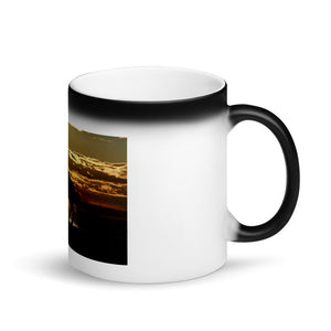 Horse in Sunset Matte Black Magic Mug
