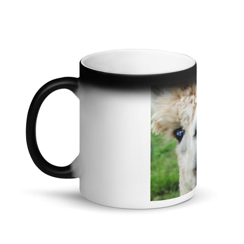 Image of Funny Smiling Alpaca Matte Black Magic Mug