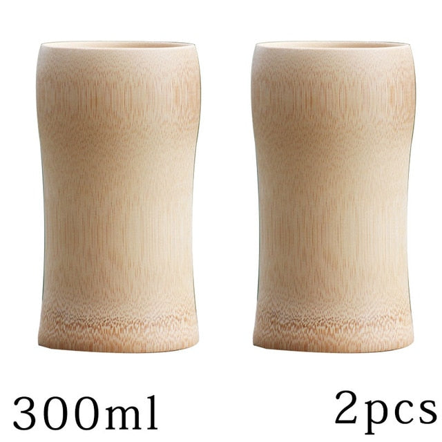 natural bamboo Tea cups beer Tumbler of coffee wine milk kitchen vintage tea service Chinese Wood cup insulated small Gift
