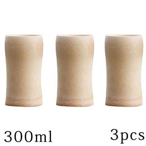 Image of natural bamboo Tea cups beer Tumbler of coffee wine milk kitchen vintage tea service Chinese Wood cup insulated small Gift