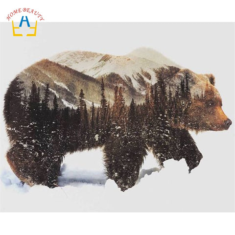 Image of oil painting by numbers hand painted canvas painting wall art home decor animal pictures bear 40X50cm diy ditigal painting SY005