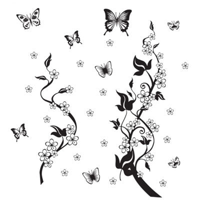 Sticker on the fridge black butterfly vine flower wall stickers kitchen decoration decals on the furniture