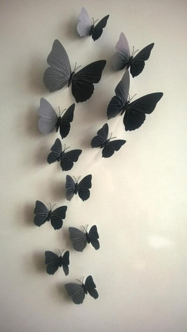 Image of Sticker on the fridge black butterfly vine flower wall stickers kitchen decoration decals on the furniture
