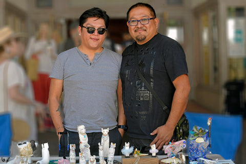 Troy Sice & Ray Tsalate at there booth Santa Fe Indian Market 2019
