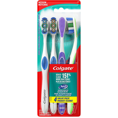 Colgate Toothbrush 4Pk 360 Whole Mouth Clean Medium, Colours may Vary