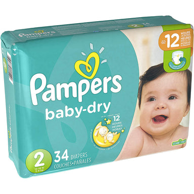 Pampers Diapers 34Ct Baby Dry 12-18 Lbs Size 2